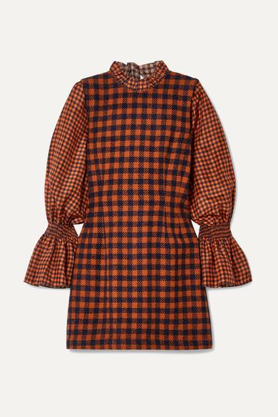 Ethno Pop Checked Wool-Blend And Silk Mini Dress in Orange