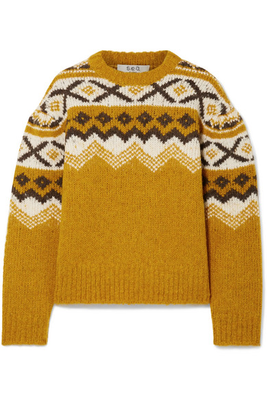 SEA Fair Isle Shirred Sleeve Sweater in Yellow