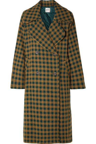 SEA - Ethno Pop Oversized Checked Wool-blend Coat - Green
