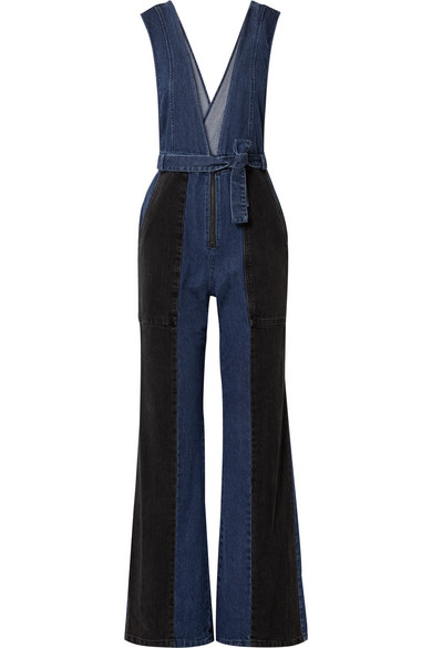 Two-Tone Denim Jumpsuit in Blue