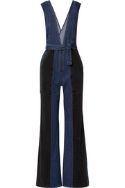 Paneled denim jumpsuit