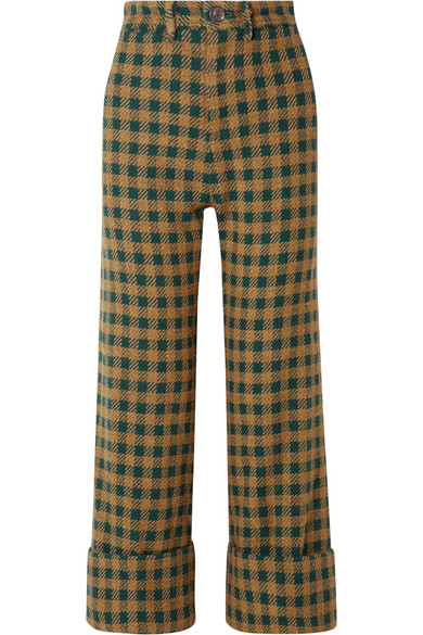 SEA - Ethno Pop Checked Wool-blend Straight-leg Pants - Green