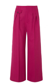 Pleated wide-leg cady pants