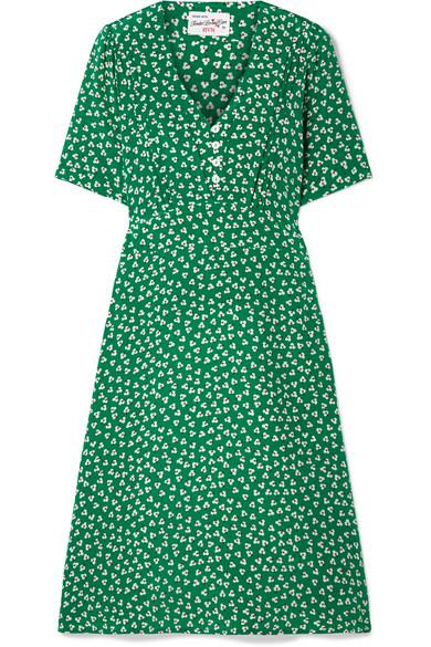HVN LOLA FLORAL-PRINT SILK CREPE DE CHINE DRESS