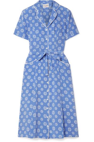 HVN Maria Floral-Print Silk Crepe De Chine Dress in Light Blue