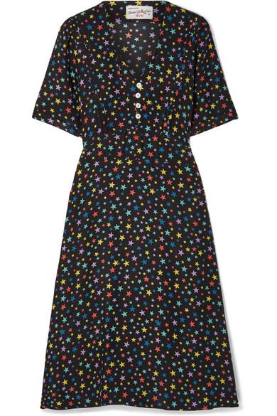 HVN Lola Printed Silk Crepe De Chine Dress in Black