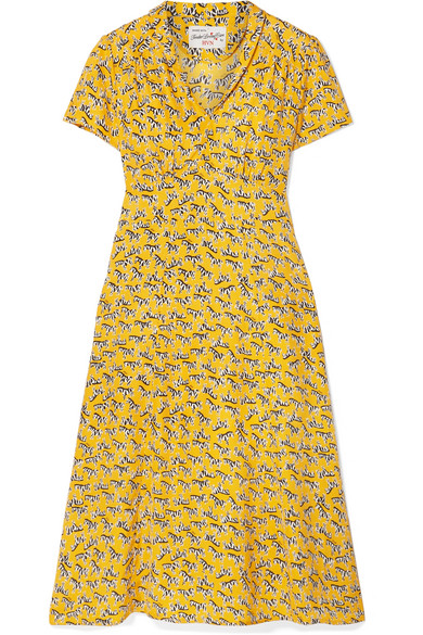 HVN Morgan Printed Silk Crepe De Chine Dress in Marigold
