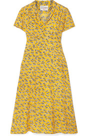 HVN Morgan printed silk crepe de chine dress
