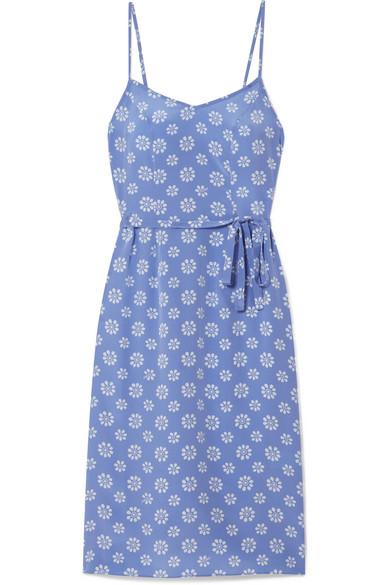 HVN Lily Floral-Print Silk Crepe De Chine Slip Dress in Blue