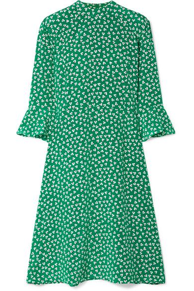 Hvn ASHLEY FLORAL-PRINT SILK CREPE DE CHINE DRESS