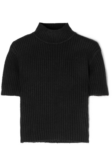 Claudia Cutout Ribbed-Knit Turtleneck Sweater, Black