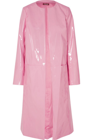 STAUD Liam Faux Patent-Leather Coat in Pink