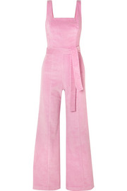 Travis belted cotton-blend corduroy jumpsuit
