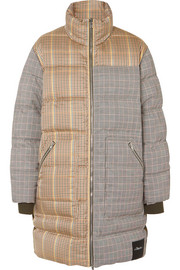 Reversible oversized paneled checked wool-blend coat
