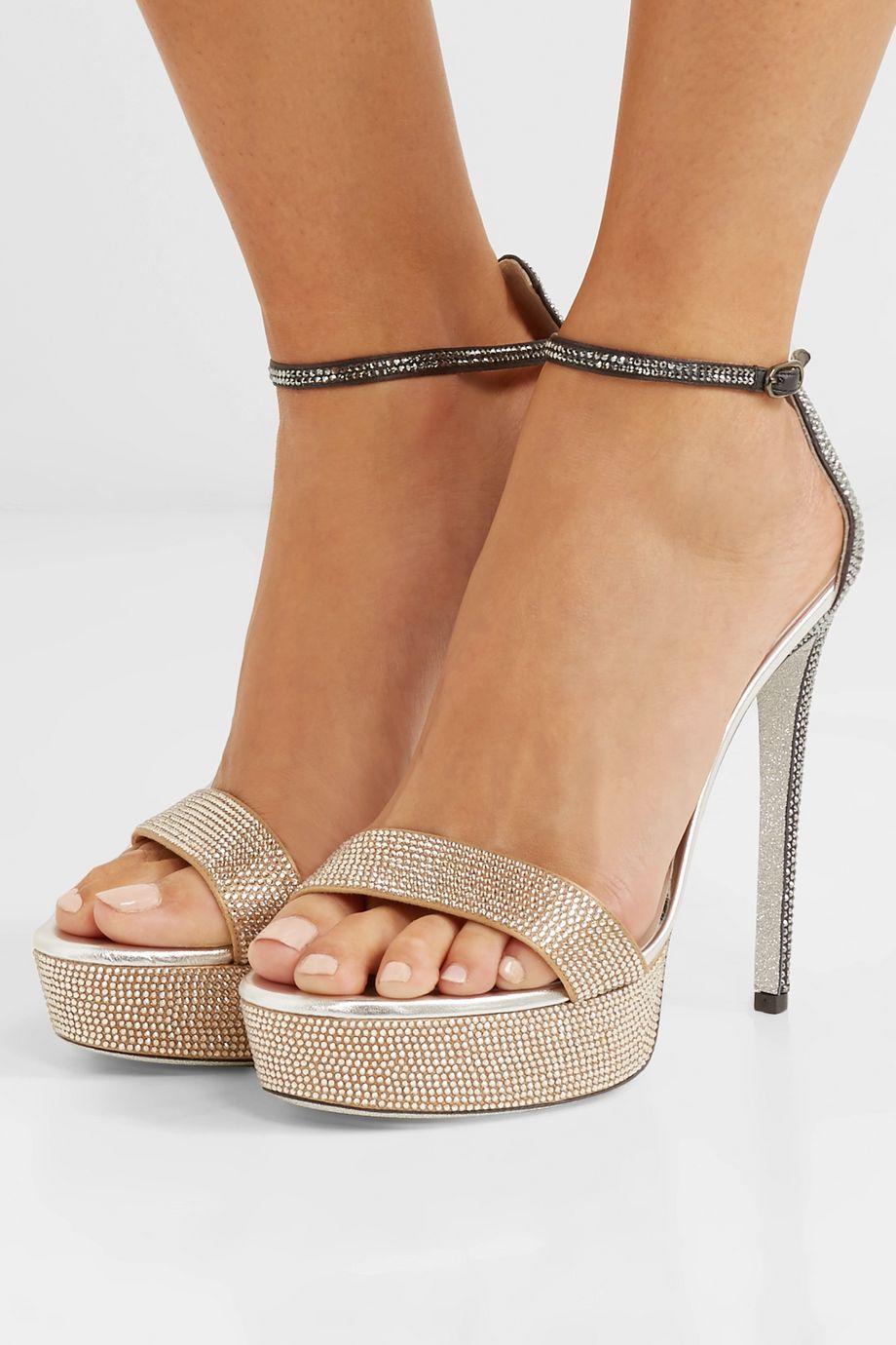 René Caovilla Celebrita crystal-embellished leather platform sandals