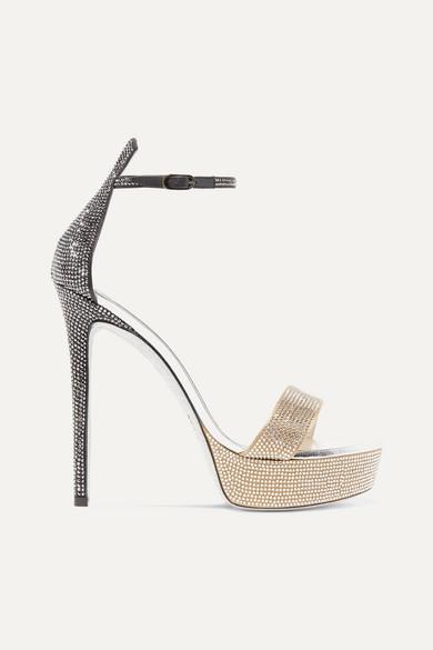 Celebrita crystal-embellished leather platform sandals