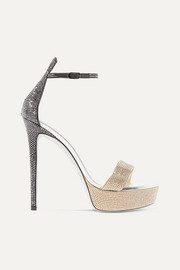 René Caovilla Celebrita crystal-embellished leather platform sandals