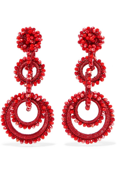 BIBI MARINI Sundrop Bead And Silk Earrings in Red