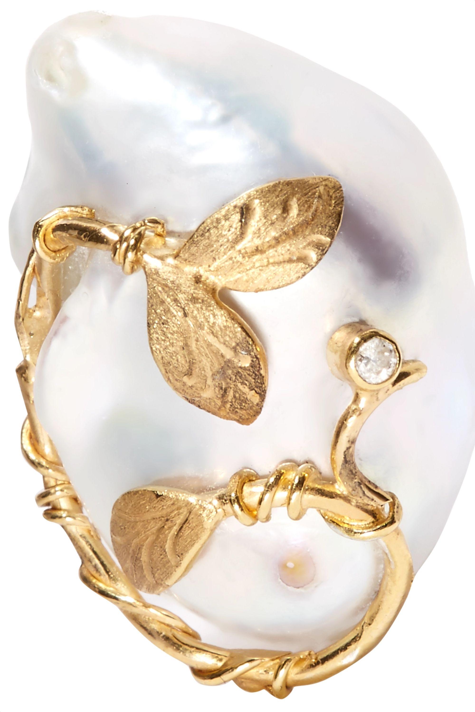 Of Rare Origin Hedera Ohrclips aus Gold-Vermeil mit Perlen und Diamanten
