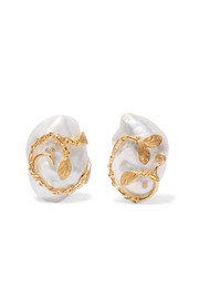 Of Rare Origin Hedera gold vermeil, pearl and diamond clip earrings