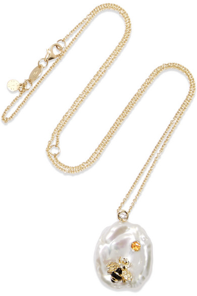 OF RARE ORIGIN Bee My Honey Gold Multi-Stone Necklace in White