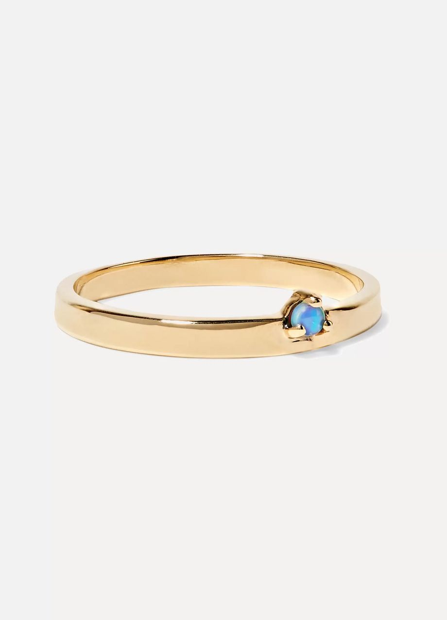 Wwake Bove 14-karat gold and opal ring