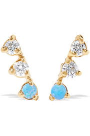Three Step 14-karat gold, diamond and opal earrings