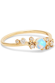 Wwake 14-karat gold, opal and diamond ring