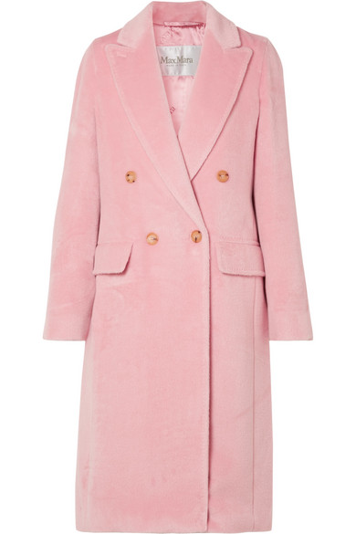 Zarda Double Breasted Alpaca Long Coat in Baby Pink