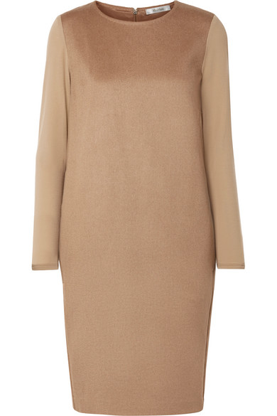 Astoria stretch wool-trimmed camel hair dress