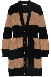 Belted striped ribbed wool and cashmere-blend cardigan