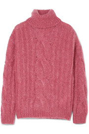 Cable-knit mohair-blend turtleneck sweater