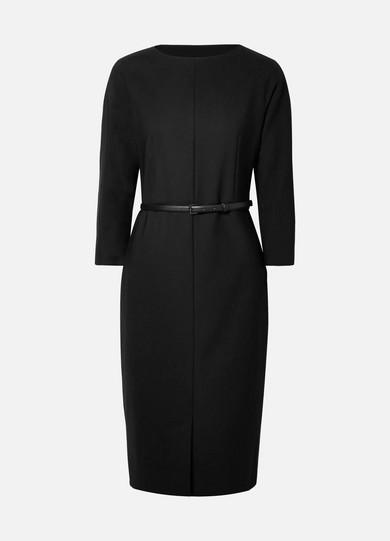 Karub Belted Stretch Wool Dress, Black