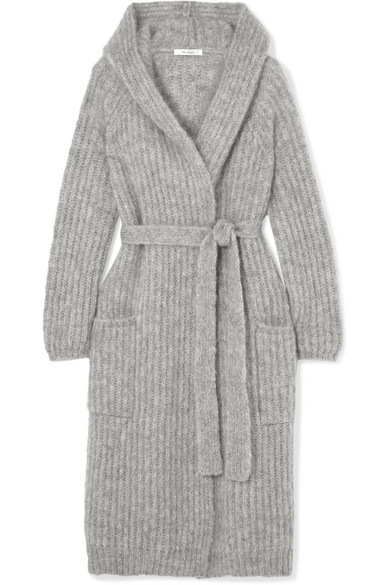 Hooded Belted Mohair-Blend Cardigan in Gray