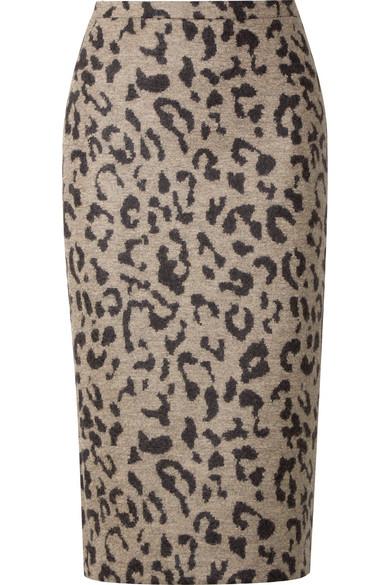 Thomas Leopard-Print Wool Skirt, Beige