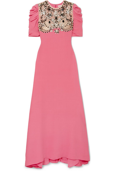 REEM ACRA Embellished Tulle-Paneled Silk Crepe De Chine Gown