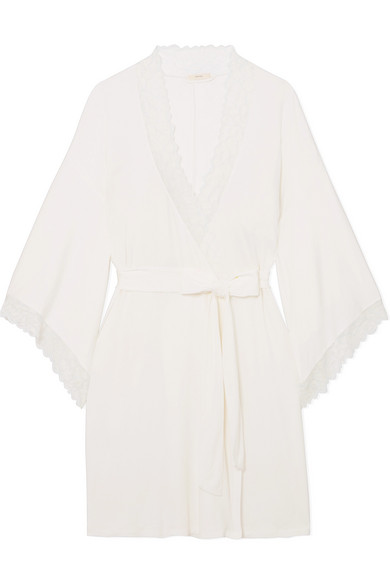 Rosario Lace-Trimmed Stretch-Modal Jersey Robe in Ivory