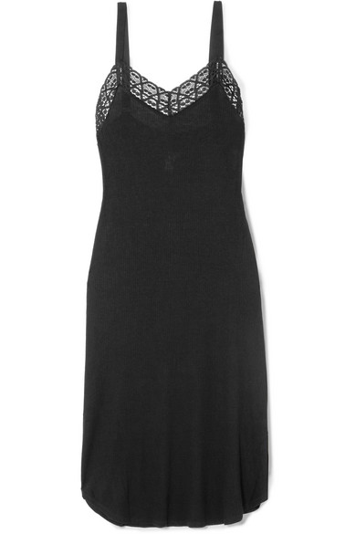 EBERJEY KAIA LACE-TRIMMED RIBBED JERSEY NIGHTDRESS
