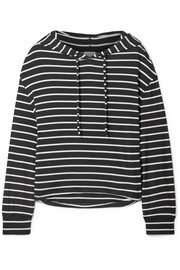 Hooded striped jersey pajama top