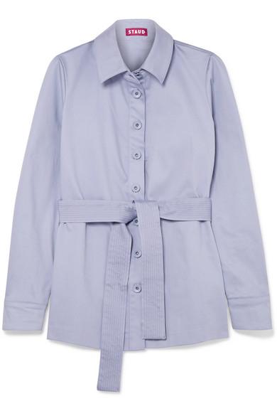 STAUD - Sabrina Belted Stretch-cotton Jacket - Lilac