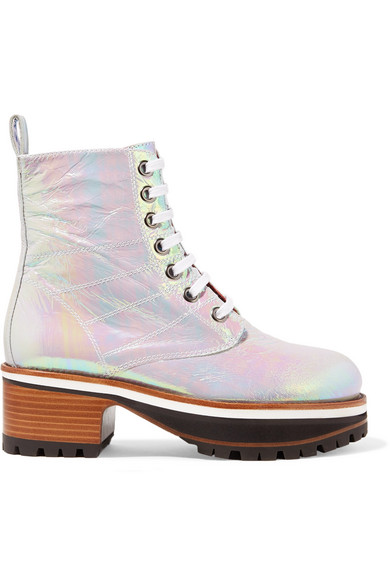 Sies Marjan - Jessa Lace-up Iridescent Coated-leather Ankle Boots - Silver