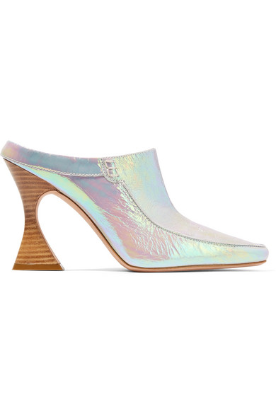 Sies Marjan - Dena Iridescent Crinkled-leather Mules - Silver