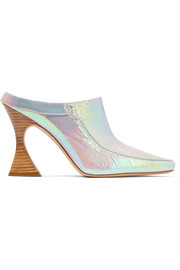 Dena iridescent crinkled-leather mules