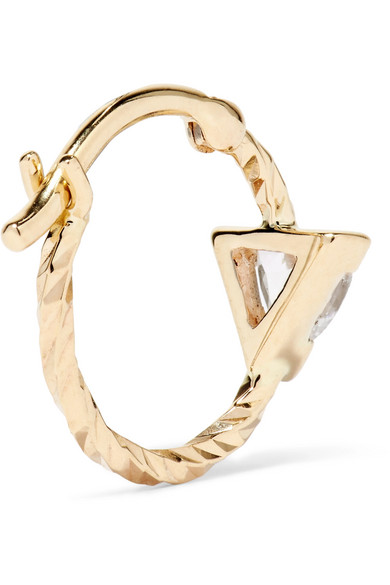 Maria Black Viper 14-karat Gold Sapphire Hoop Earrings n0KT4