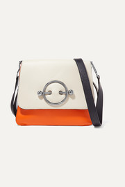 Disc color-block leather shoulder bag