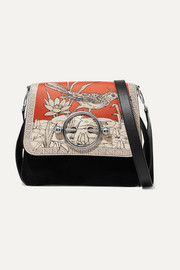 JW Anderson Disc printed leather and suede shoulder bag