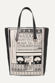 JW Anderson Leather-trimmed printed canvas tote