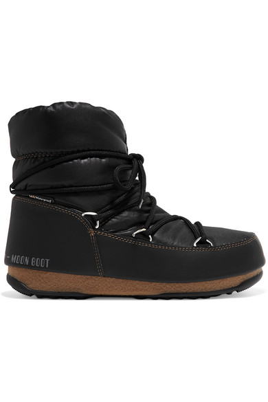 Moon Boot - Shell And Faux Leather Snow Boots - Black