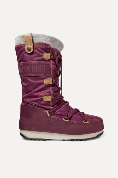 MOON BOOT Monaco Felt-Lined Shell And Faux Leather Snow Boots in Burgundy