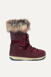 Monaco faux fur-trimmed shell and faux leather snow boots
